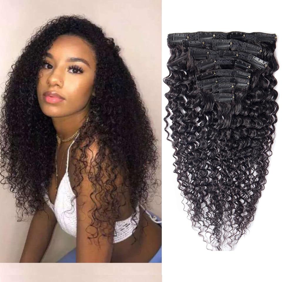 Maxine вьющиеся волосы для наращивания на заколках, человеческие волосы для наращивания, 8 шт./компл., 120 г, 10-24 дюйма, черные Remy человеческие воло...