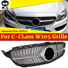 W205 Diamond Style Grills Grill ABS Silver Without Sign C-class Sporty C180 C200 C250 C300 C350 Car Front Bumper Grille 2015-18