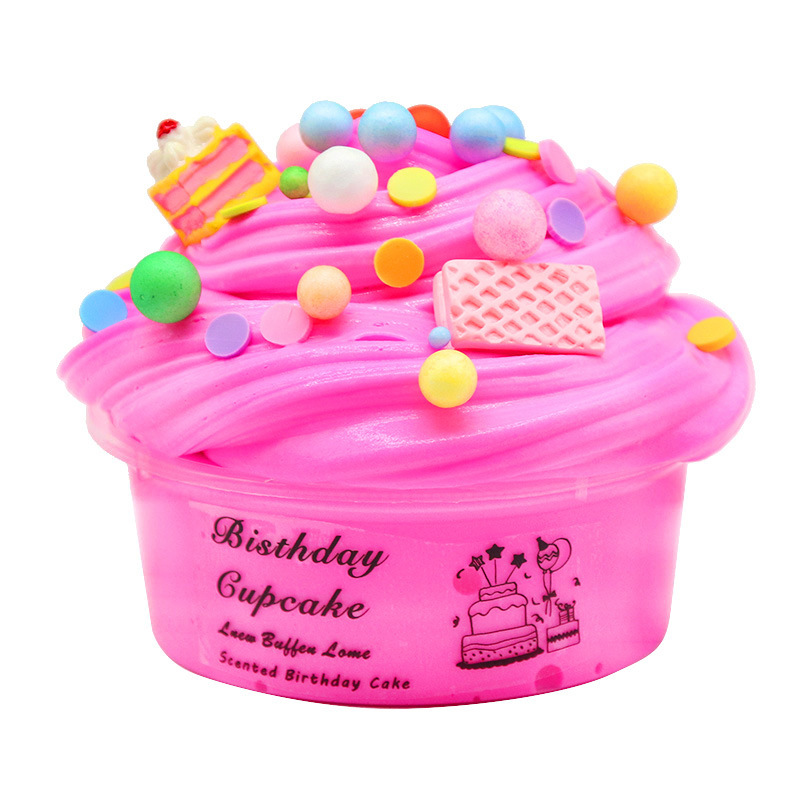 60ml Fluffy Supplies Slime Polymer Clay Charms Cloud Slime Cartoon Cake Playdough Magic Lizun Colored Plasticine Toys For Kids