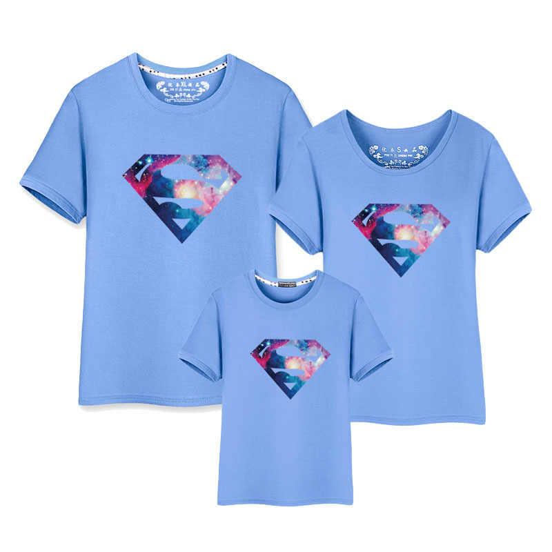 面白いヒーロー Tシャツ家族ルック母息子ママと娘の服マッチング服ストリート半袖シャツ女性