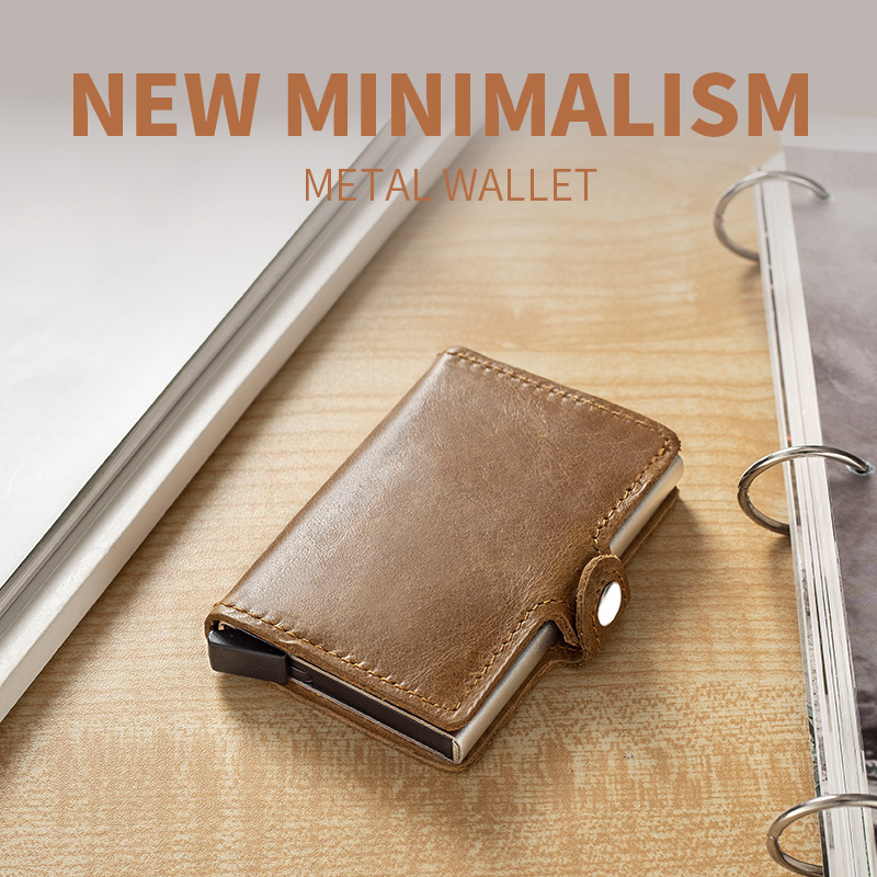 Véritable cuir hommes en aluminium portefeuille poche arrière ID support de carte rfid blocage Mini magique portefeuille automat