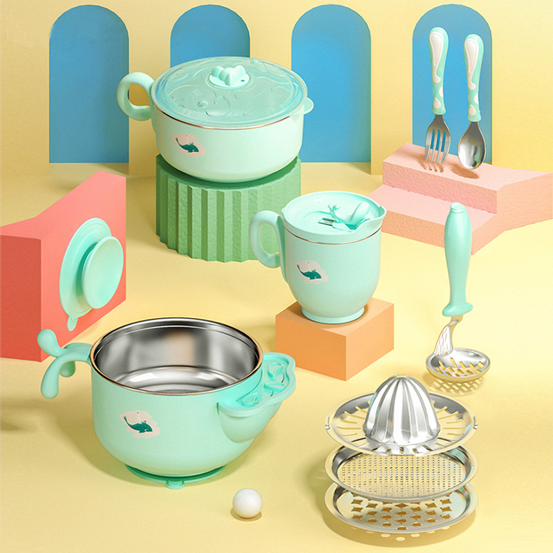 insulation bowl infants stainless steel bowl spoon grinding side dish bowl baby chuck bowl of cutlery set for dinner