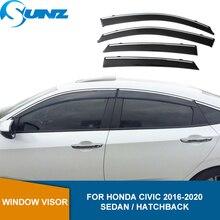 Deflectorsหน้าต่างด้านข้างสำหรับHonda Civic 10th 2016 2017 2018 2019 2020 Smoke Sun Shieldหน้าต่างVisor Sun Rain Deflectors SUNZ