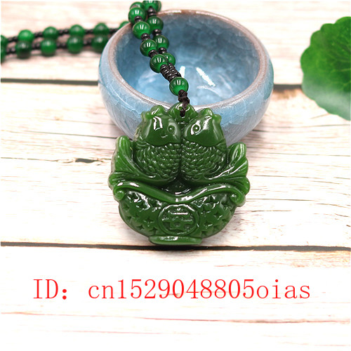 Natural Green Chinese Jade Pisces Pendant Beads Necklace Fashion Charm Jadeite Jewelry Carved Fish Amulet Gifts For Women Men