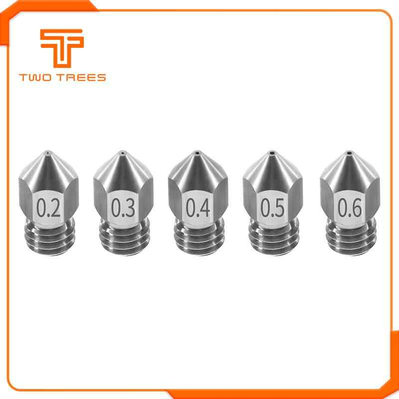 1PCS MK8 Nozzle 0.2 0.3 0.4 0.5 0.6mm M6 Threaded Stainless Steel for 1.75mm Filament for creality CR-10 ender-3 printer