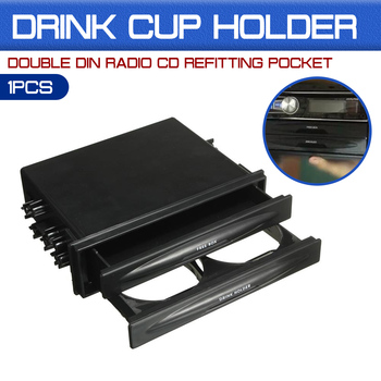 Universal For Pocket Drink-Cup Holder & Storage Box Car Auto Plastic Double Din Radio Kit image