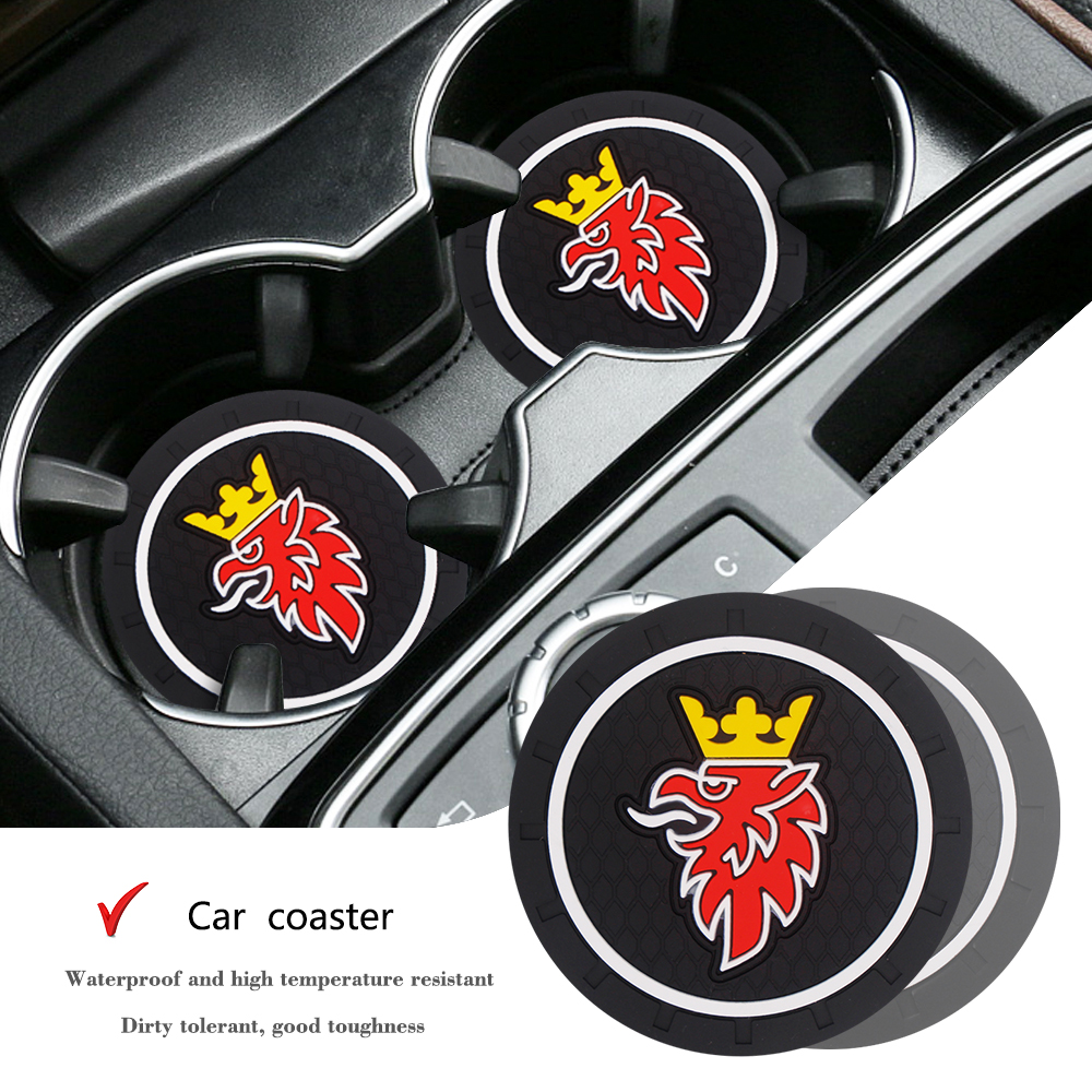 2PCS PUNISHER SkCar Cup Anti-slip Pad Epoxy Cup Holder Mat Pad Bottle Built-in Car Styling For Saab 9-3 9-5 900 9000 Scania Etc.
