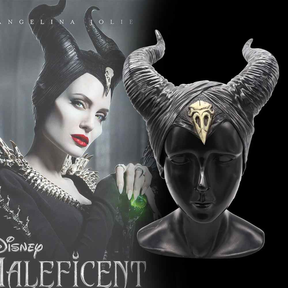 Anime Maleficent: Mistress of Evil Cosplay Masks Maleficent Queen Headwear PVC Horn Helmet Mask Party Hallpoween Costumes Prop