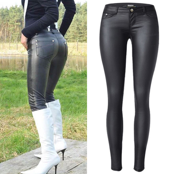 Women Low Waist Faux Pu Leather Pants Punk Gothic Lady Skinny Pencil Trousers Sexy Stretch Legging Slim Fit Plus Size street