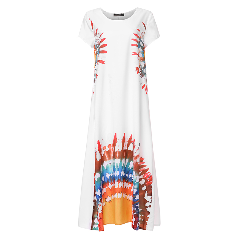 2019 Celmia Summer Women Vintage Print Long Shirt Dress Short Sleeve Casual Loose Holiday Maxi Dress Plus Size Robe Vestiods 5XL