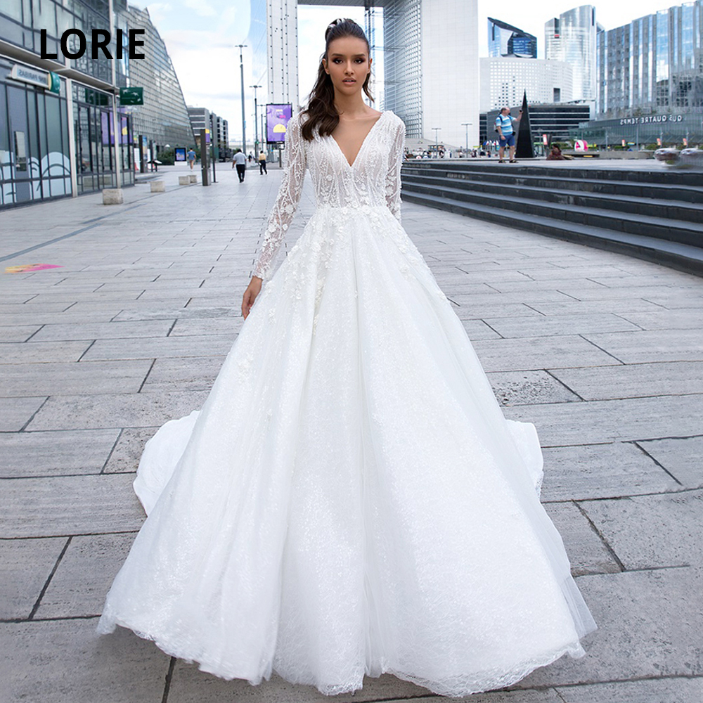 LORIE 2020 Long Sleeve Luxury Wedding Dresses Lace Appliques Bridal Gown Open Back Tulle Princess Wedding Party Dress long train