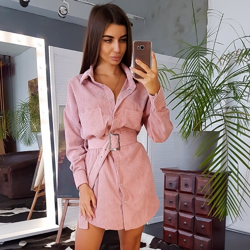Women Winter Belt Straight Mini Dress Ladies Long Sleeve Turn Down Collar Party Dress 2019 Solid Vintage Fashion Dress 2