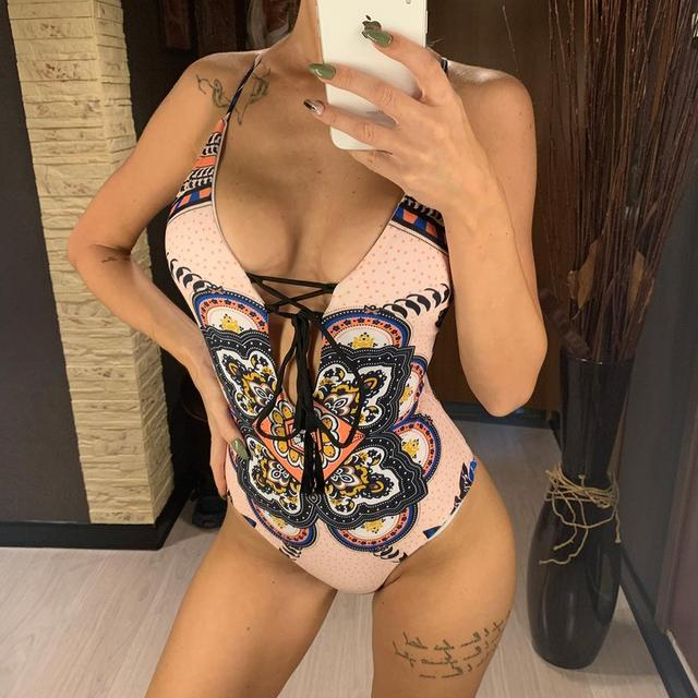 2020 New Sexy Lace Up Monokini Women Swimwear One Piece Swimsuit Female Printed High Cut Bather Bathing Suit Swim Lady V2506 Body Suits    -