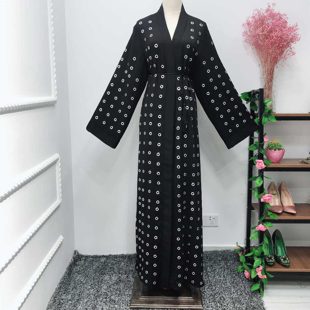 Dromiya Abaya Dubai Vestido Dos Muçulmanos Hijab Kaftan Quimono de Metal Anel Robe Musulmane Vestuário Islâmico Caftan Marocain Turco EMIRADOS ÁRABES UNIDOS Eid