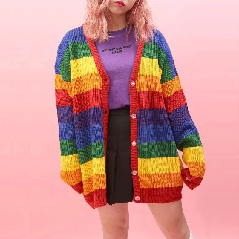 Harajuku Pastel Rainbow Cardigan Women V-neck Single-breasted Full Sleeve Knit Striped Cardigan For Sweet Girl Autumn Tops