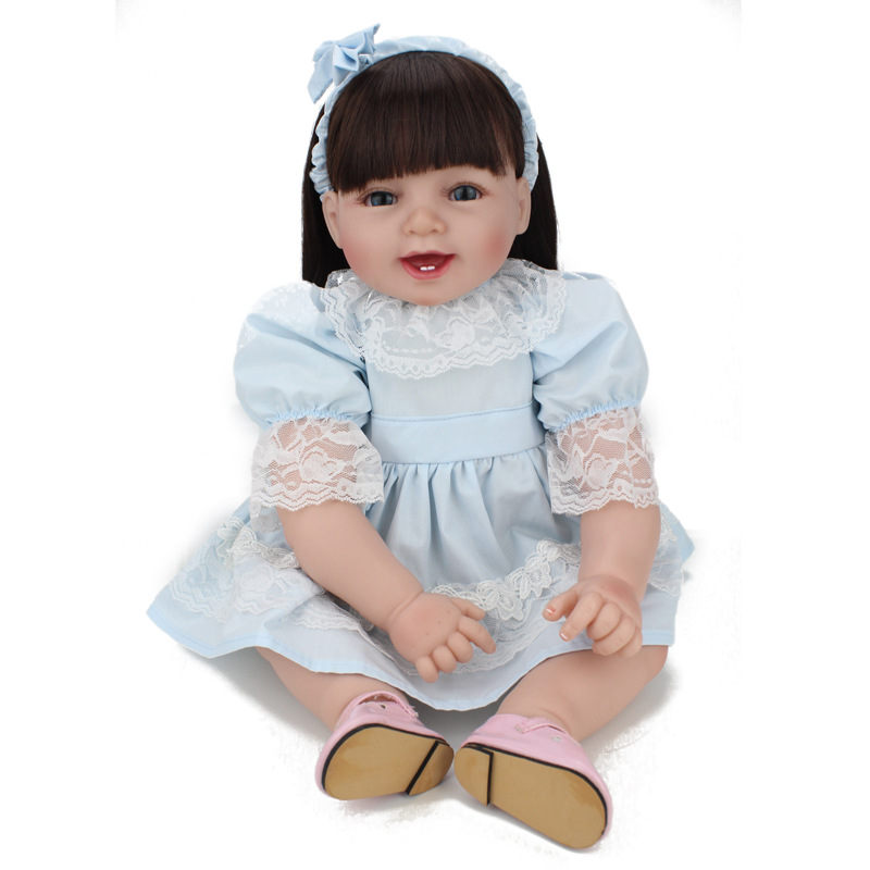 Adorable Reborn Baby Doll Lifelike Soft Silicone 55CM Babies Reborn Dolls Handmade Toddler Dolls With Hands Open Toys For Kids