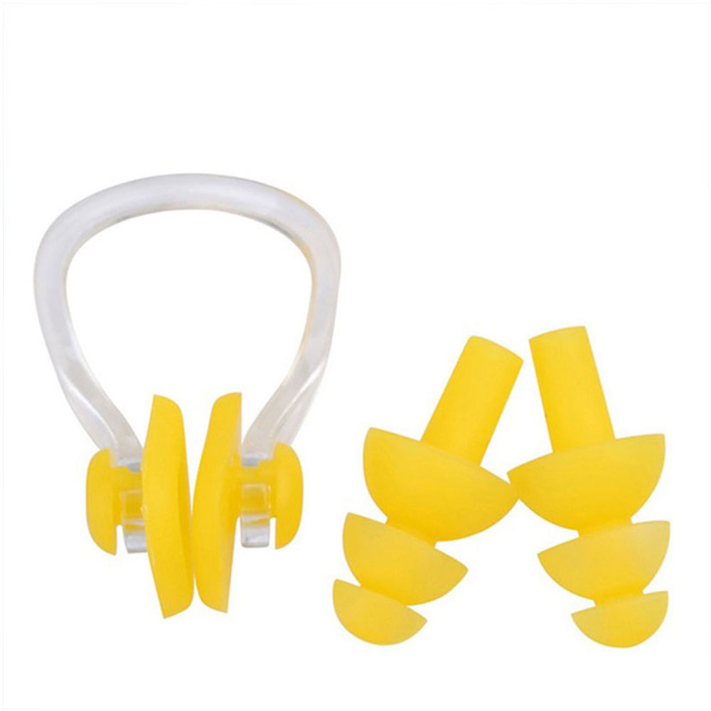 3pcs Soft Ear Plugs Nose Clip Set Environmental Silicone Waterproof Dust-Proof Earplugs Diving Water Sports Swimming Accessories