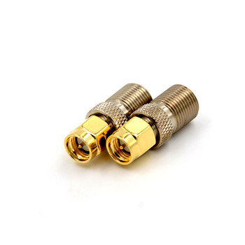 1pc F Connector To SMA Convertor Gold Tone F Type Female Jack To SMA Male Plug Straight RF Coaxial Adapter image