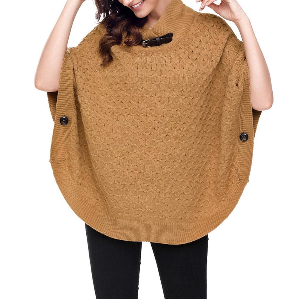 Women Comfortable Pure Color Casual Solid Color Loose Batwing 3/4 Sleeve Shawl Poncho Knit Pullover водолазка женская