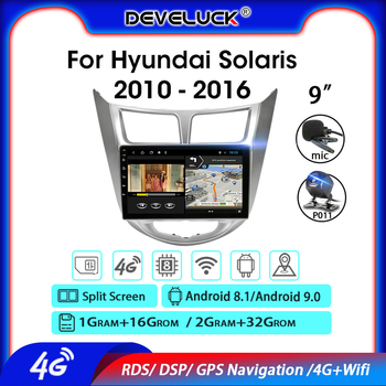 Android 9.0 2 Din Car Radio For Hyundai Solaris Verna Accent i25 2010-2016 2G+32G GPS Navigation Multimedia Video Player DSP RDS image