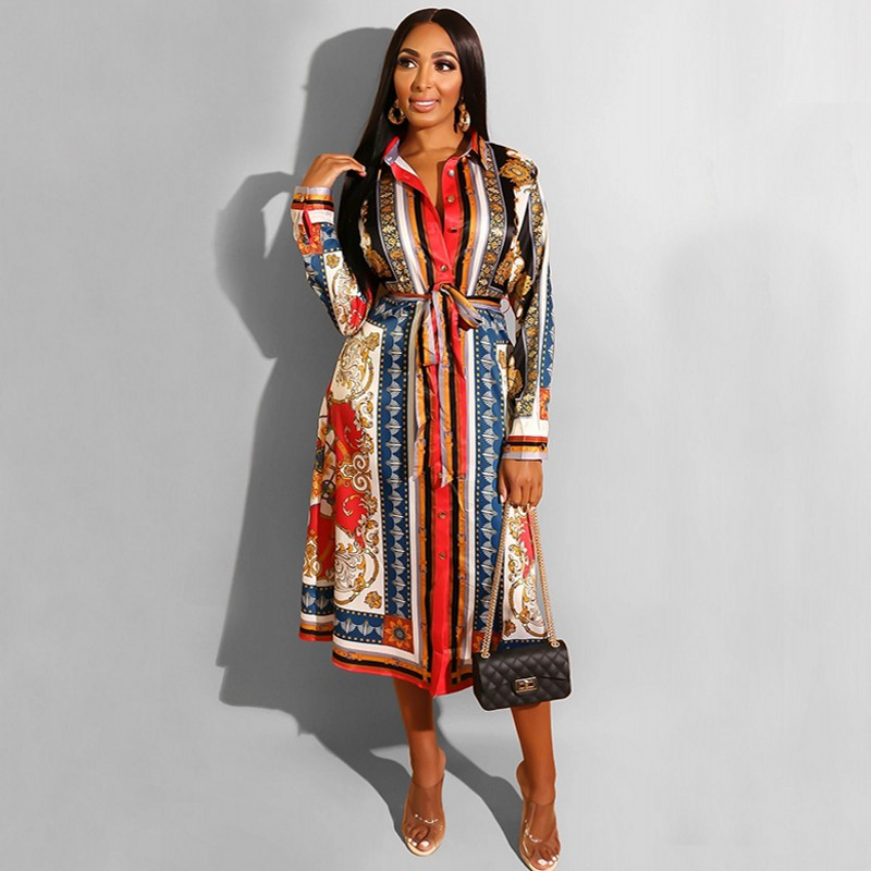 Office Ladies Work Turn-down Collar Print A-Line Long Dress Casual Fit And Flare Pleated Dress Spring Autumn Women Fashion