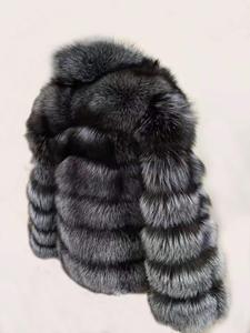 Image 5 - Linhaoshengyue moda kadın gümüş tilki kürk ceket kadın düzenli bölüm yatay şerit tilki kürk ceket kadın standı yaka