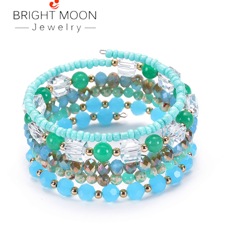 BRIGHT MOON  Geometric Natural Square Crystal Winding Bracelet Stone Faceted Multilayer for Women Jewelry