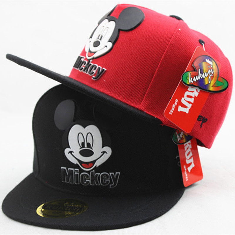 Disney Anime Hat of Kids Boy Girl Mickey Mouse Travel Sport Caps Baby Caps Figure Gift Toys Headgear 2-8Y Head 48-55cm
