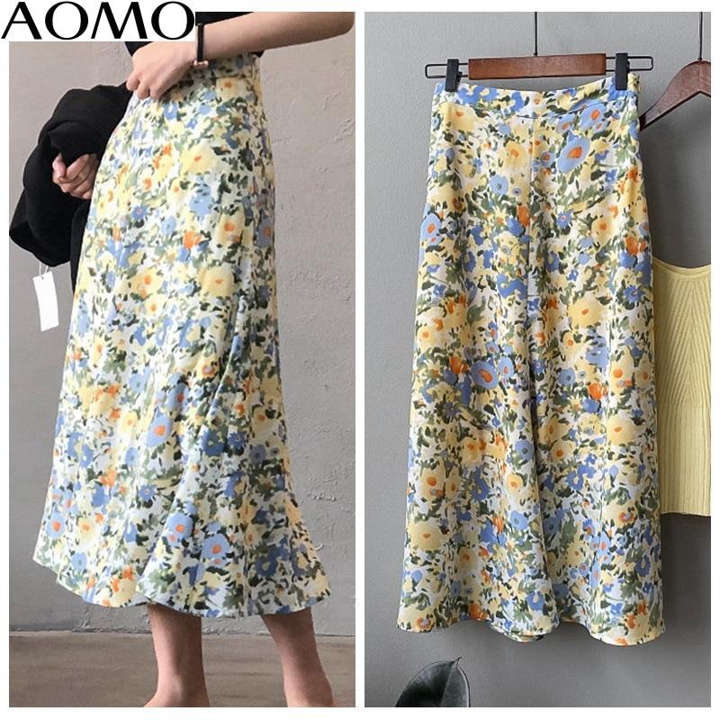 AOMO Fashion  Women Floral A-line Midi Skirt Vintage Side Zipper Office Ladies Elegant Chic Skirts Quality ASF21A