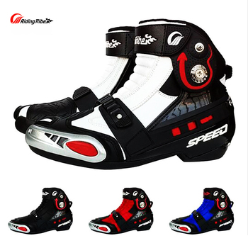 Botas de Motocross para hombre, zapatos de Moto, botas para motocicleta, equipo de protección, de carreras, color negro