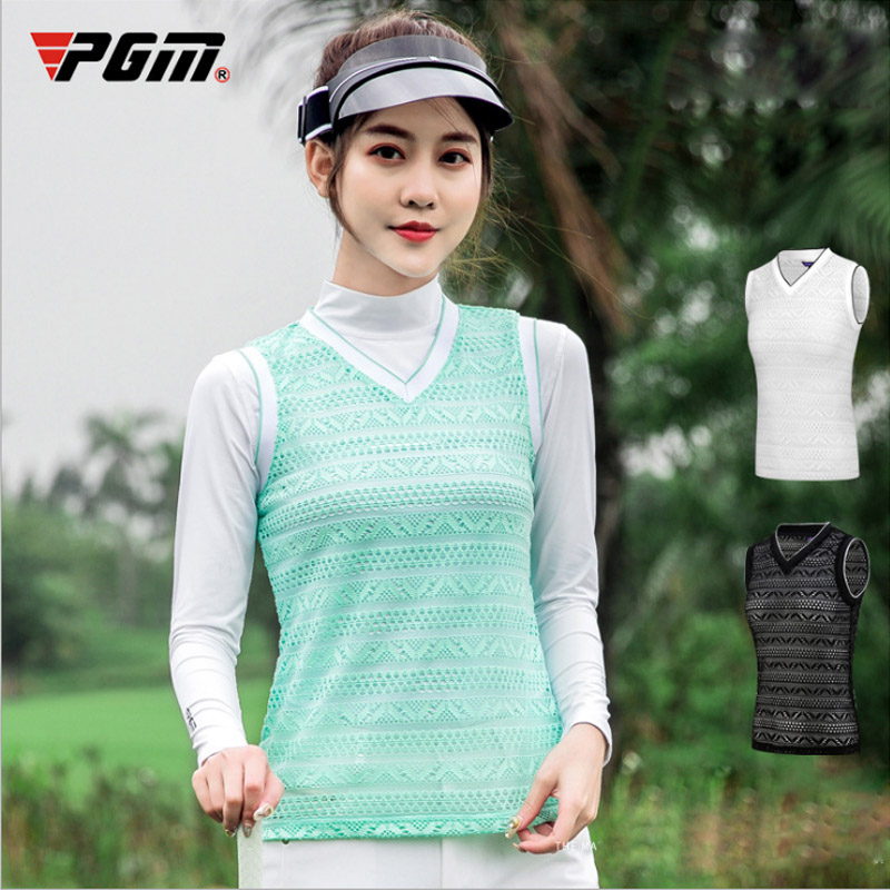 PGM nice Summer Lace Golf Vest Womens Lace Vest woman sport outdoor sleeveless clothing black green light breathable vests