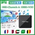 Android caixa de IPTV Arábica 8.1 H96max S905X2 Código Inteligente IPTV 1 Ano QHDTV França Itália EMIRADOS ÁRABES UNIDOS Dual-Band WI-FI caixa de IP TV Espanha H96 MAX