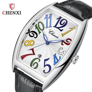 Image 1 - Fashion Luxury Brand Square Watch Men Tonneau Waterproof Business Quartz Leather Wrist Watch for Men Clock Male erkek kol saati