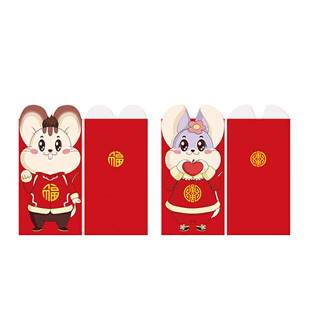 6pcs/set Paper Cartoon Rat Packet Money Pocket Hong Bao 2020 Chinese New Year Wedding Lucky Cute Spring Festival Red Envelopes