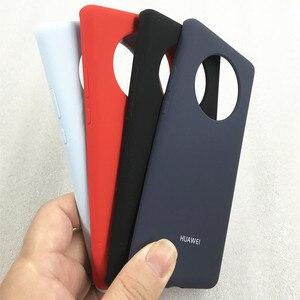 Оригинальный защитный чехол из жидкого силикона для HUAWEI Mate 40 Pro, шелковистый мягкий на ощупь с логотипом