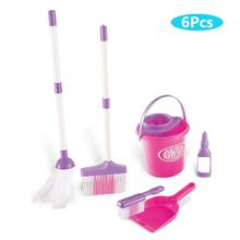 6Pcs Kids Simulation Broom Mop Bucket Brush Cleaning Tool Pretend Play Toy Set
