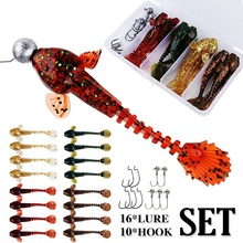 Sougayilang Fishing Lure Hook Set Soft Worm Lure with Crank Hooks and Jig Hooks Fishing Baits Tackle Outdoor Fishing Accessories