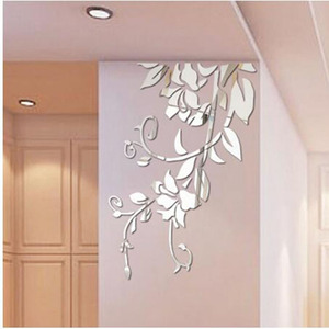 Acrylic Mirror Wall Stickers 3D DIY Leaves Mirror Acrylic Modern Art Mural Stickers Living Room Decoration Tool