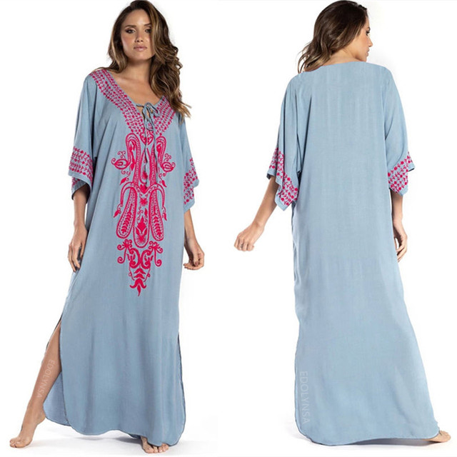 2021 Indie Folk Lace Up V-Neck Batwing Sleeve Summer Beach Dress  Tunic Women Beachwear kaftan Maxi Dress Robe Sarong N775 4