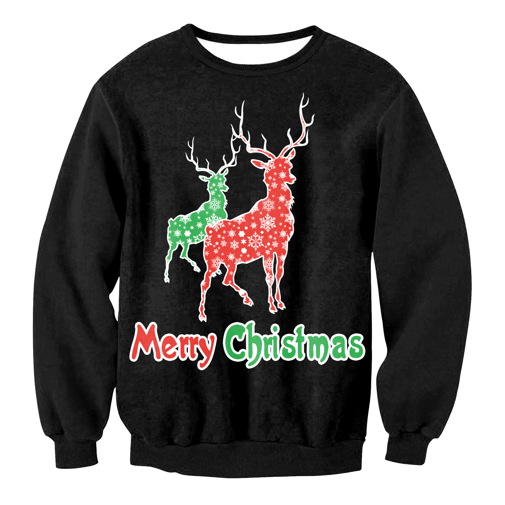 3D Elk Print Xmas Sweaters Ugly Christmas Sweater Couple Matching Clothes Uniex Outfits For Ugly Women Men Autumn Winter NEW