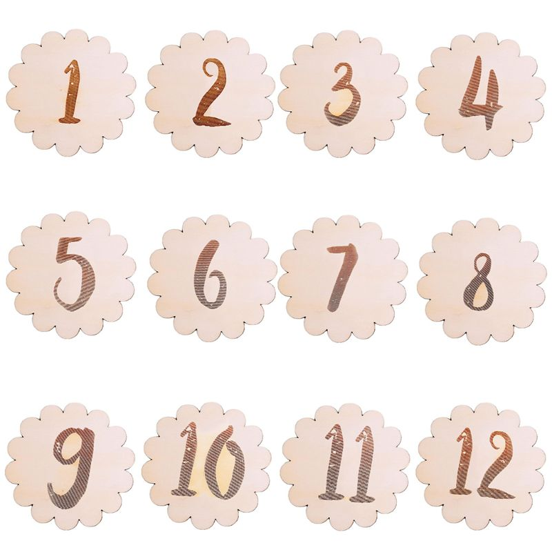 Kids Baby Monthly Wooden Card Double Sided Milestone Stickers Blocks U50F