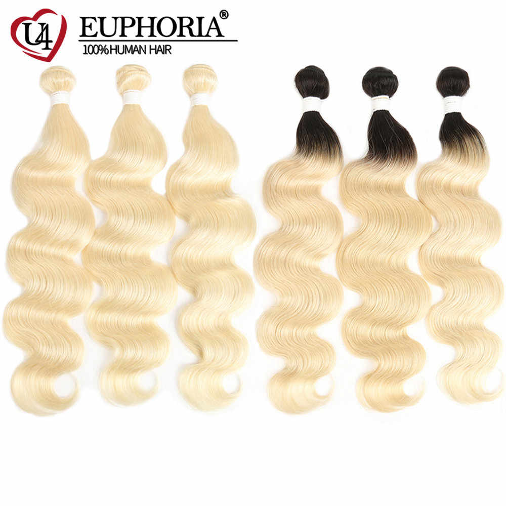 Euphoria 613 Bundles Brazilian Body Wave 100% Remy Human Hair Bundles 8-26inch Platinum Blonde 1B 613 Ombre Bundle Hair Weaving