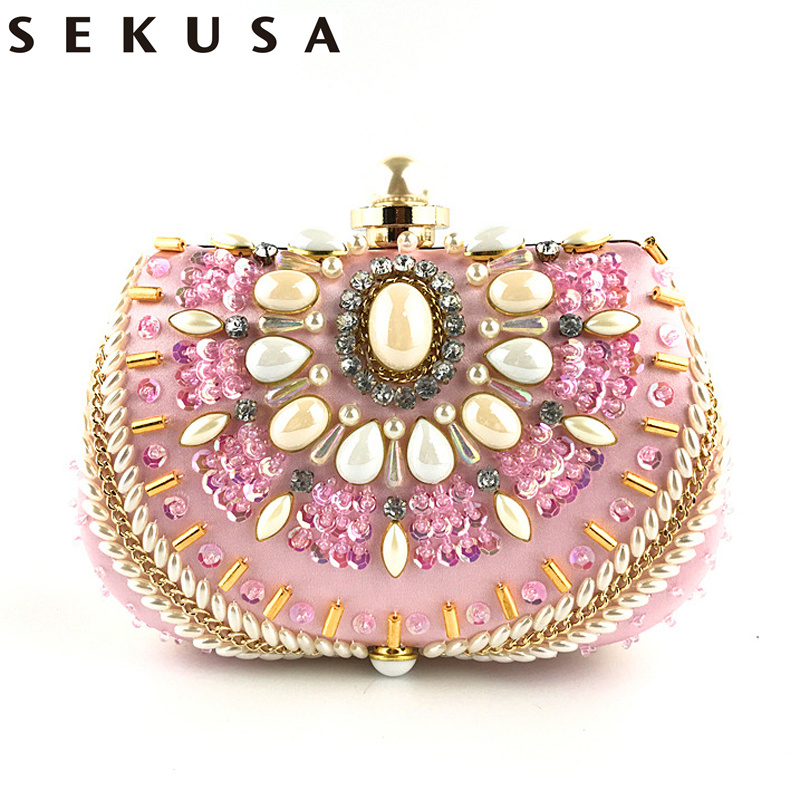 SEKUSA Clutch Purse Bag Women Round Clutch Evening Bag Crystal Diamond Wedding Purse Handbag Exquisite Chain Shoulder Bag