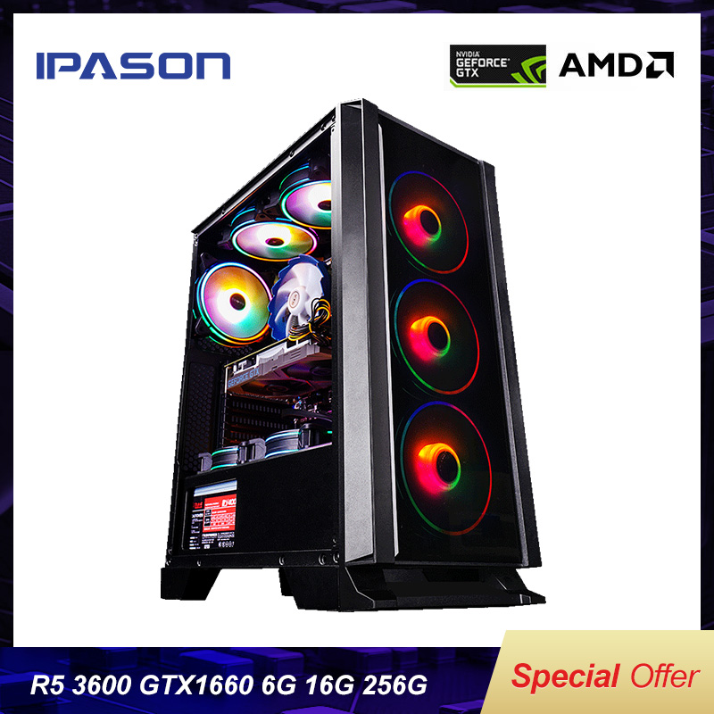 IPASON Desktop PC AMD R5 3600 New Product Dedicated Card GTX1660-6G DDR4 16G RAM 256G SSD For Game PUBG Gaming Computers PC