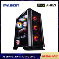 IPASON Desktop PC AMD R5 3600 new product Dedicated card GTX1660 6G DDR4 16G RAM 256G SSD for game PUBG gaming computers PC