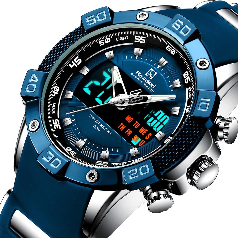 Mens Watches Readeel Brand Luxury LED Digital Quartz Chronograph Man Sport Watch Waterproof Wristwatch relogio quartzo masculino|Quartz Watches| - AliExpress