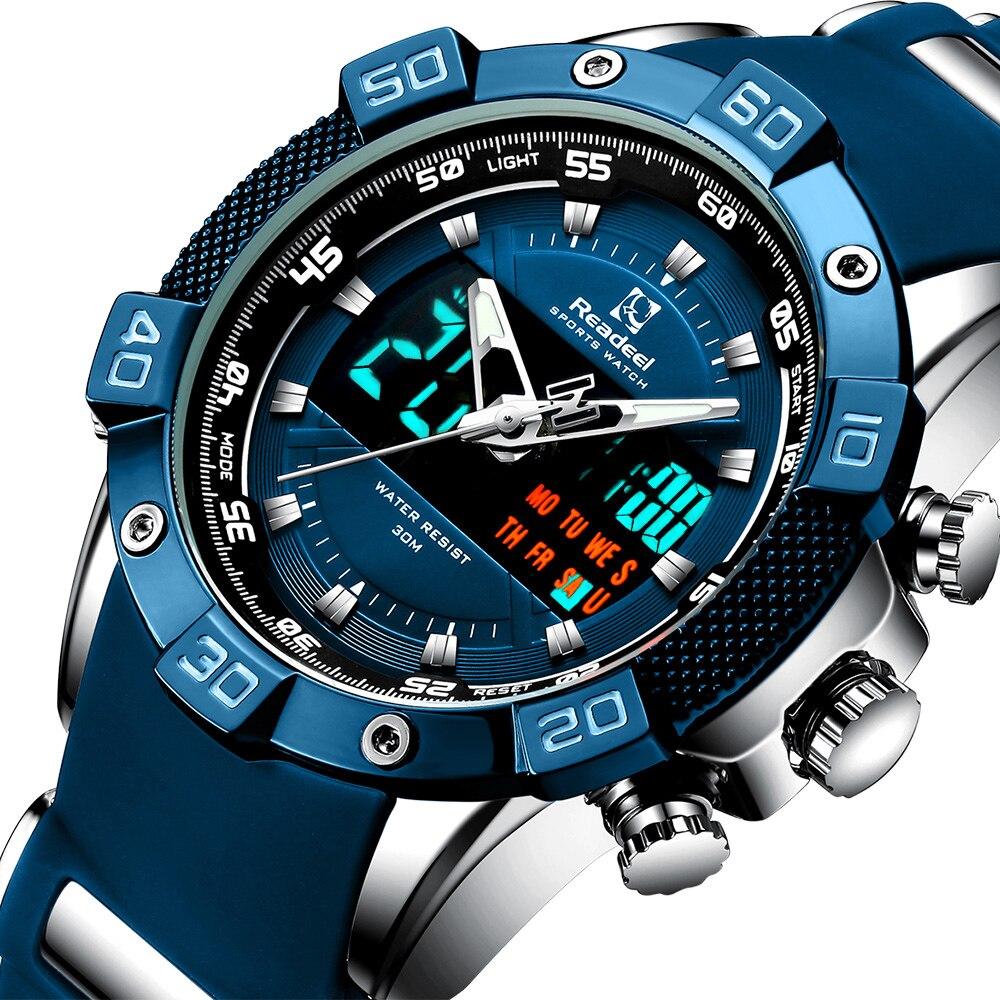 Readeel Brand Luxury LED Digital Quartz Mens Watches Chronograph Man Sport Watch Waterproof Wristwatch relogio quartzo masculino