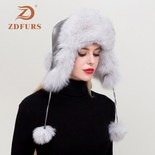 ZDFURS*Women Natural Real Fox Leather Hat Winter Ushanka Bomber Cap Russia Snow Wind Thick Warm Fur Real Sheepskin Leather Caps duoupa russian leather bomber leather hat women winter hat earflap real fox fur genuine leather caps with earflaps ushanka