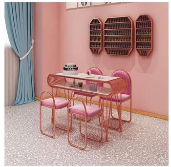Ins online celebrity marmurowy stół i krzesło do paznokci zestaw pojedynczy podwójny złoty kutego żelaza podwójny stół warsztatowy do manicure tanie i dobre opinie Andessoer CN (pochodzenie) Salon mebli Stół paznokci Meble sklepowe