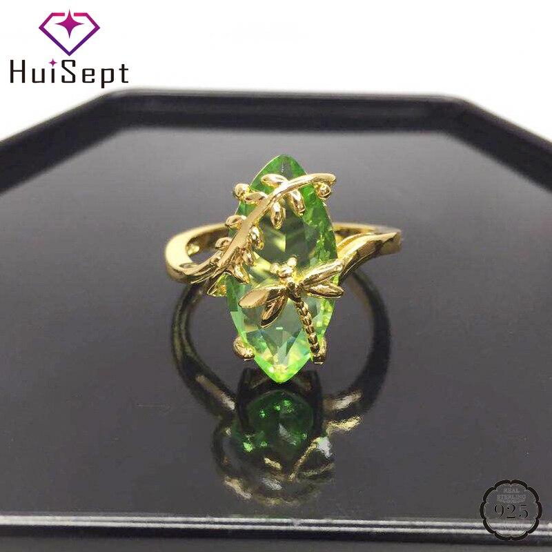 HuiSept Fashion Silver 925 Ring owalny szmaragd kamień kształt ważki złote kolorowe pierścienie ozdoby jubilerskie dla kobiet prezenty ślubne
